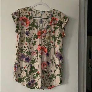 5/$25 sale Express floral silk blouse